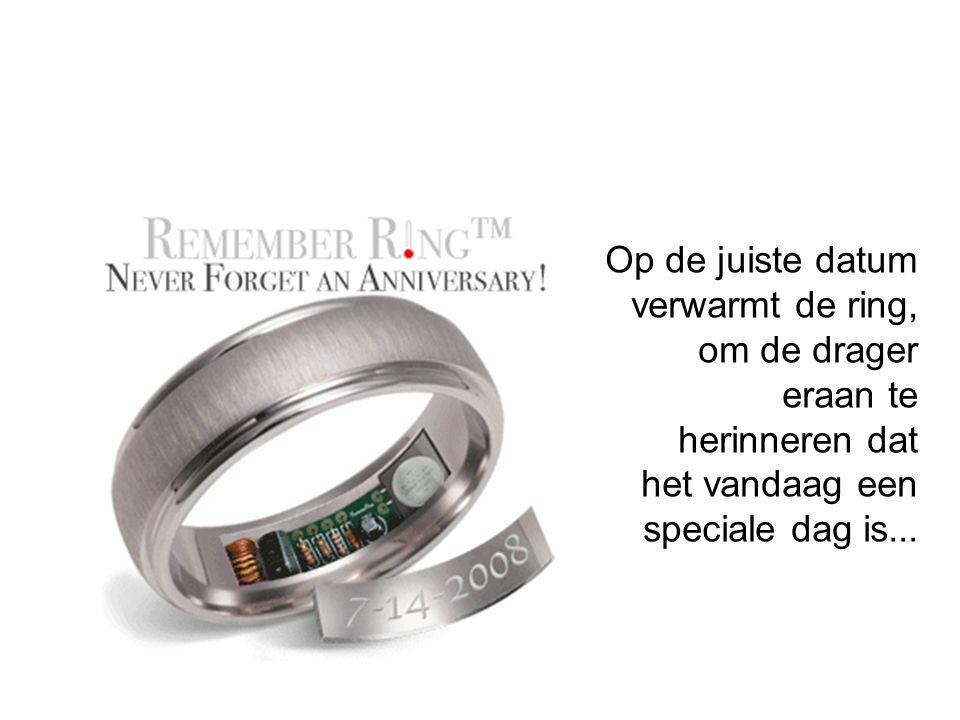 Op de juiste datum verwarmt de ring, om de drager eraan te herinneren dat het vandaag een speciale dag is...