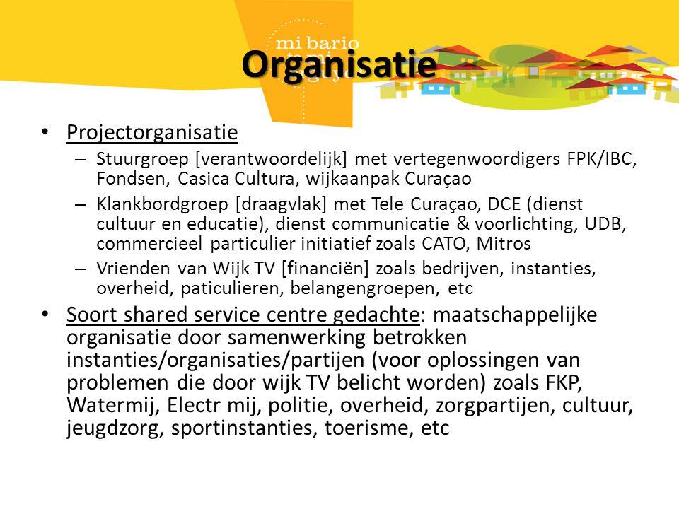 Organisatie Projectorganisatie – Stuurgroep [verantwoordelijk] met vertegenwoordigers FPK/IBC, Fondsen, Casica Cultura, wijkaanpak Curaçao – Klankbord