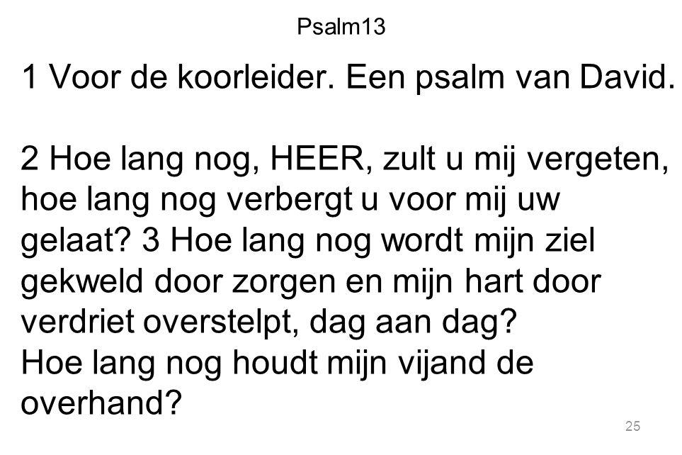 Psalm13 1 Voor de koorleider. Een psalm van David. 2 Hoe lang nog, HEER, zult u mij vergeten, hoe lang nog verbergt u voor mij uw gelaat? 3 Hoe lang n