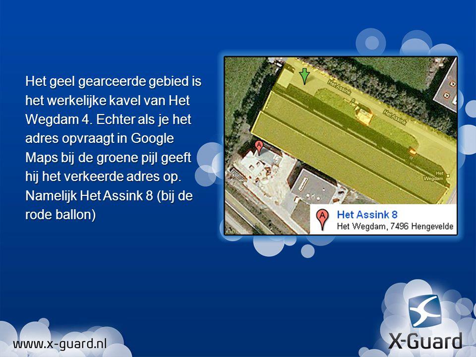 Het geel gearceerde gebied is het werkelijke kavel van Het Wegdam 4.