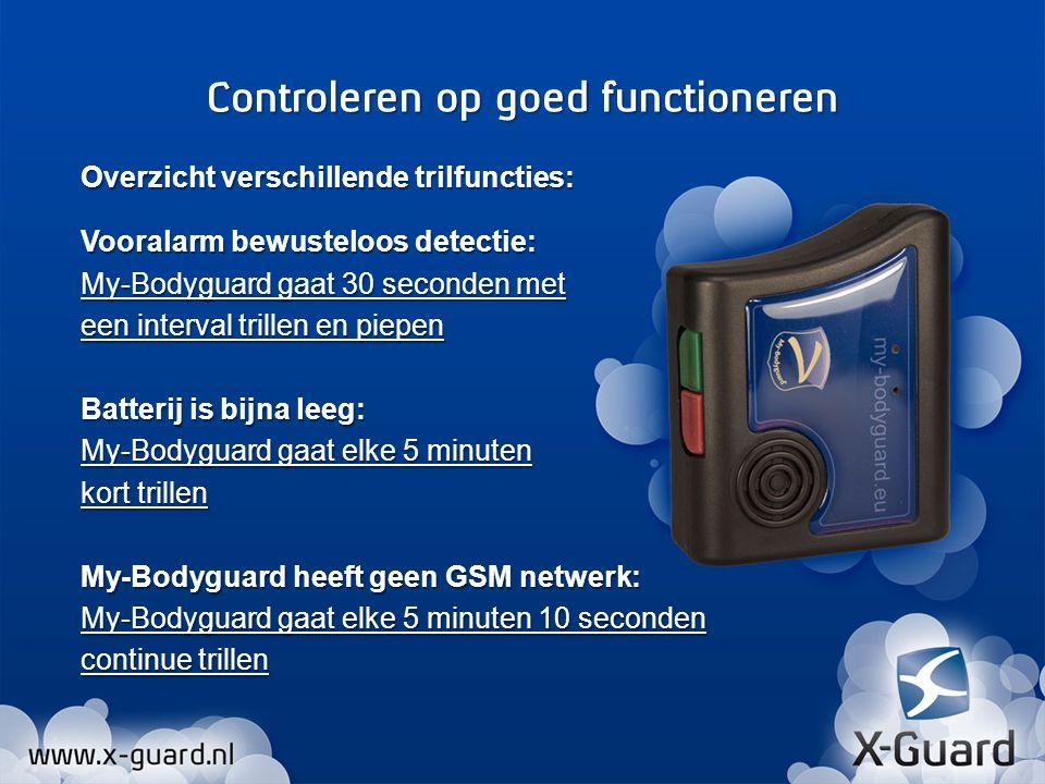 Overzicht verschillende trilfuncties: Vooralarm bewusteloos detectie: My-Bodyguard gaat 30 seconden met een interval trillen en piepen Batterij is bij