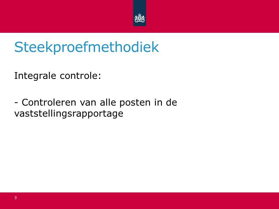 Steekproefmethodiek Integrale controle: - Controleren van alle posten in de vaststellingsrapportage 3