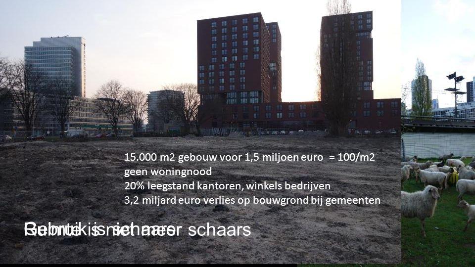 Ruimte is niet meer schaars 15.000 m2 gebouw voor 1,5 miljoen euro = 100/m2 geen woningnood 20% leegstand kantoren, winkels bedrijven 3,2 miljard euro verlies op bouwgrond bij gemeenten Gebruik is schaars