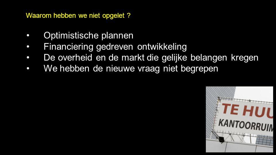 Optimistische plannen Financiering gedreven ontwikkeling De overheid en de markt die gelijke belangen kregen We hebben de nieuwe vraag niet begrepen Waarom hebben we niet opgelet ?
