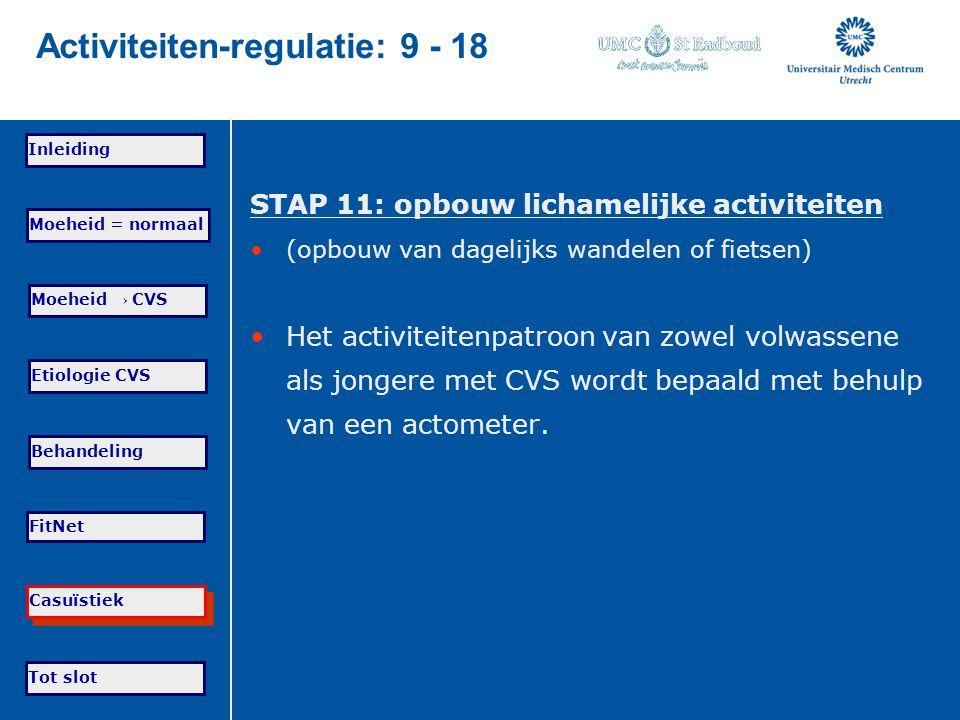Tot slot Moeheid = normaal Moeheid → CVS Etiologie CVS Behandeling FitNet Casuïstiek Inleiding Activiteiten-regulatie: 9 - 18 STAP 11: opbouw lichamel