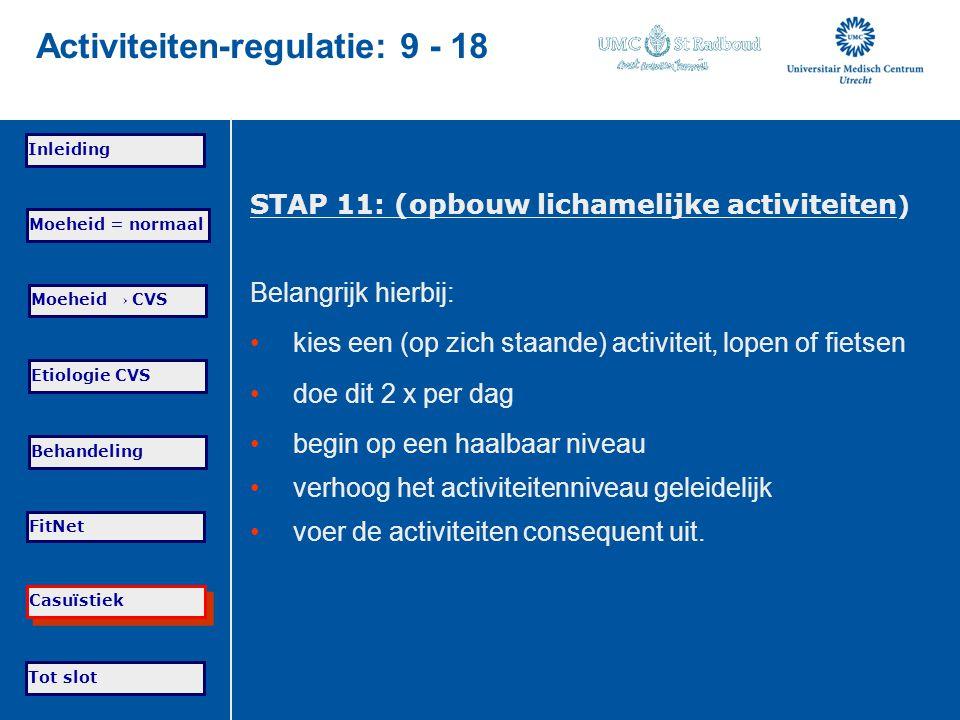 Tot slot Moeheid = normaal Moeheid → CVS Etiologie CVS Behandeling FitNet Casuïstiek Inleiding Activiteiten-regulatie: 9 - 18 STAP 11: (opbouw lichame