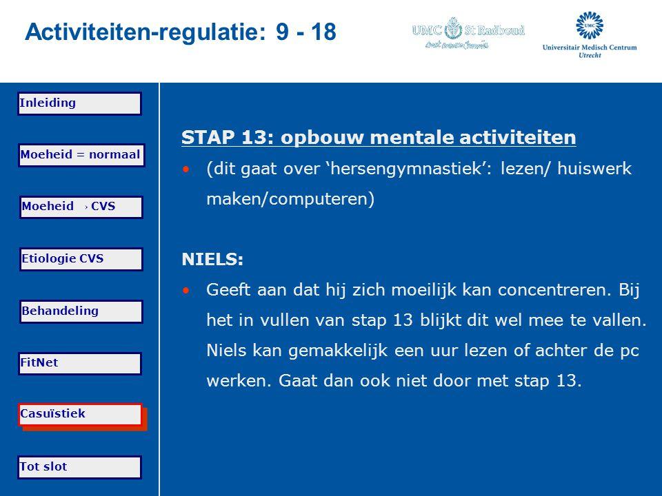 Tot slot Moeheid = normaal Moeheid → CVS Etiologie CVS Behandeling FitNet Casuïstiek Inleiding Activiteiten-regulatie: 9 - 18 STAP 13: opbouw mentale
