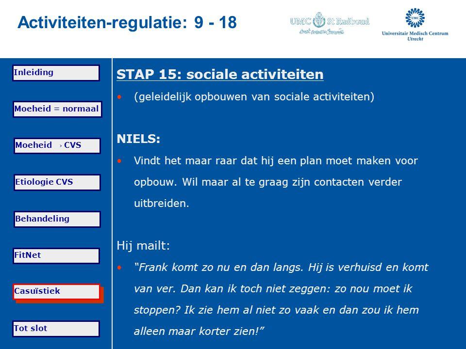 Tot slot Moeheid = normaal Moeheid → CVS Etiologie CVS Behandeling FitNet Casuïstiek Inleiding Activiteiten-regulatie: 9 - 18 STAP 15: sociale activit