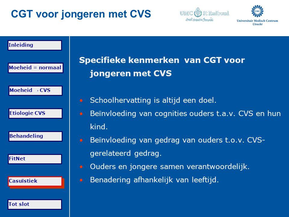 Tot slot Moeheid = normaal Moeheid → CVS Etiologie CVS Behandeling FitNet Casuïstiek Inleiding CGT voor jongeren met CVS Specifieke kenmerken van CGT