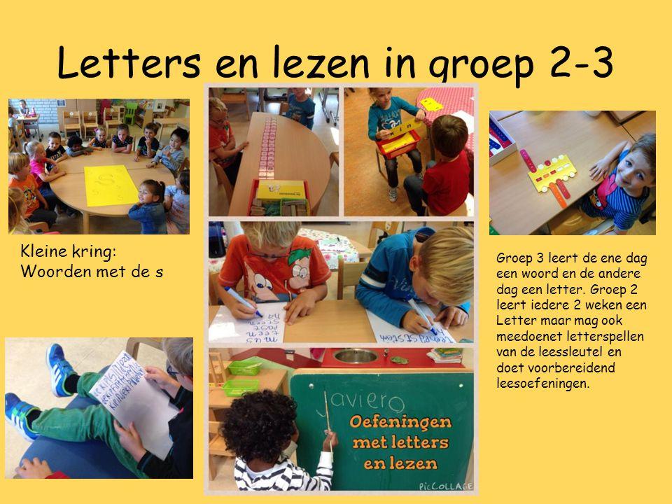 Letters en lezen in groep 2-3 Kleine kring: Woorden met de s Groep 3 leert de ene dag een woord en de andere dag een letter. Groep 2 leert iedere 2 we