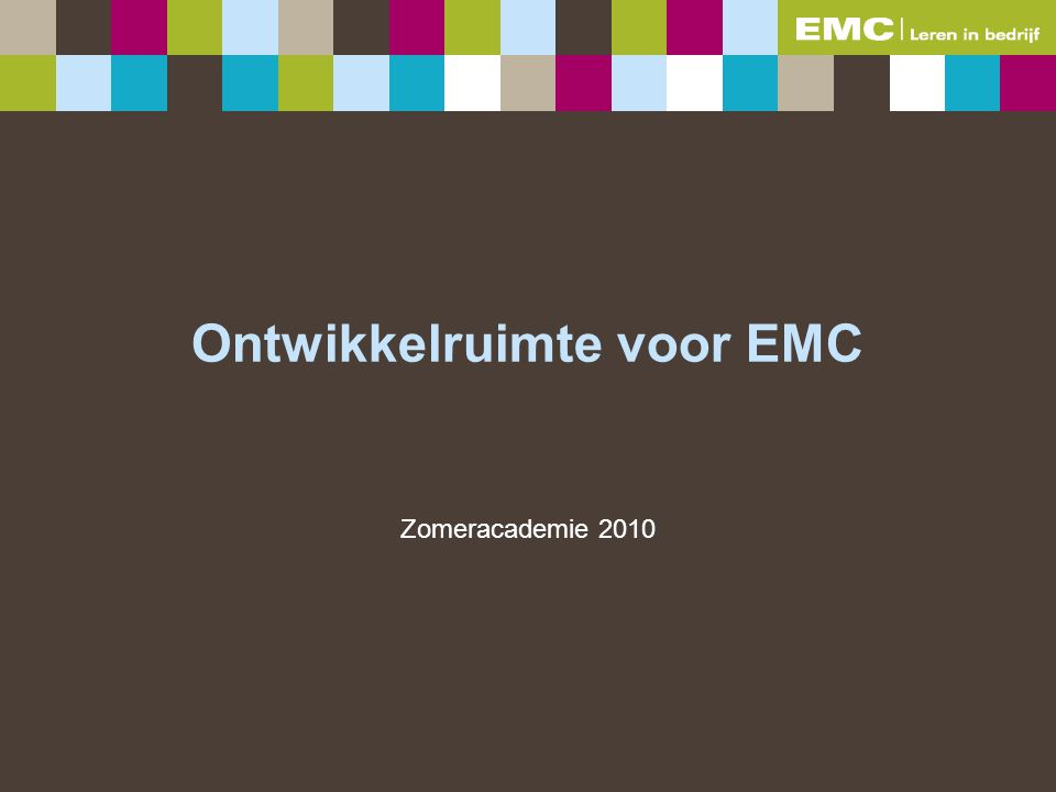 Ontwikkelruimte voor EMC Zomeracademie 2010