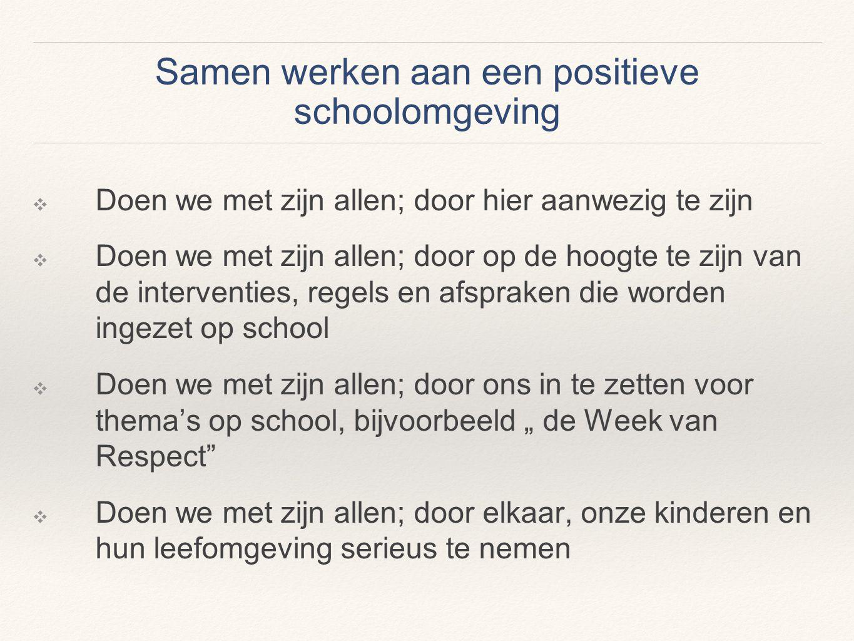 Samen werken aan een positieve schoolomgeving ❖ Doen we met zijn allen; door hier aanwezig te zijn ❖ Doen we met zijn allen; door op de hoogte te zijn