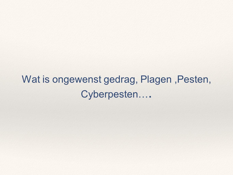 Wat is ongewenst gedrag, Plagen,Pesten, Cyberpesten….