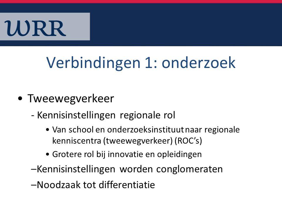 Verbindingen 1: onderzoek Tweewegverkeer - Kennisinstellingen regionale rol Van school en onderzoeksinstituut naar regionale kenniscentra (tweewegverk
