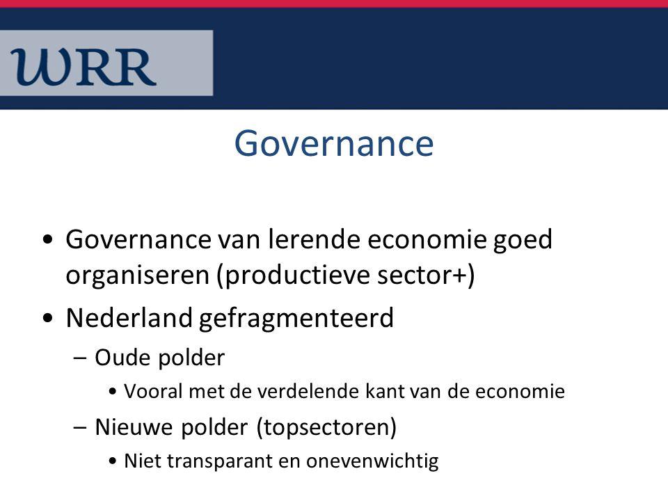 Governance Governance van lerende economie goed organiseren (productieve sector+) Nederland gefragmenteerd –Oude polder Vooral met de verdelende kant