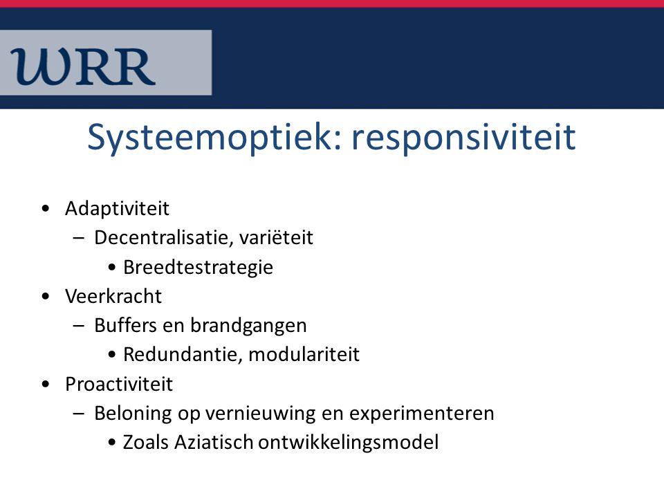 Systeemoptiek: responsiviteit Adaptiviteit –Decentralisatie, variëteit Breedtestrategie Veerkracht –Buffers en brandgangen Redundantie, modulariteit P