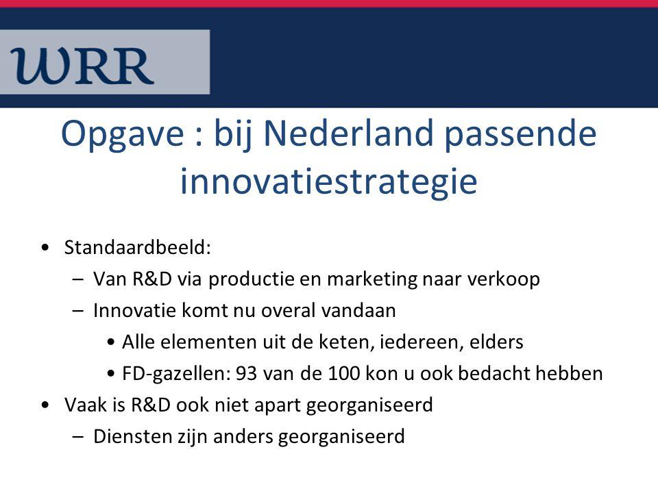 Opgave : bij Nederland passende innovatiestrategie Standaardbeeld: –Van R&D via productie en marketing naar verkoop –Innovatie komt nu overal vandaan