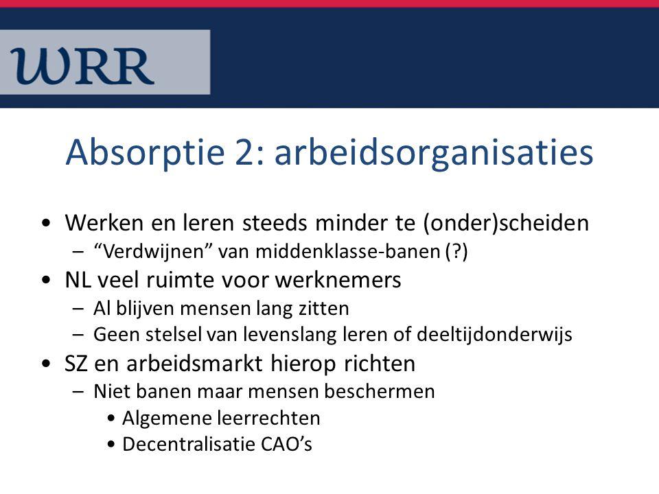 """Absorptie 2: arbeidsorganisaties Werken en leren steeds minder te (onder)scheiden –""""Verdwijnen"""" van middenklasse-banen (?) NL veel ruimte voor werknem"""