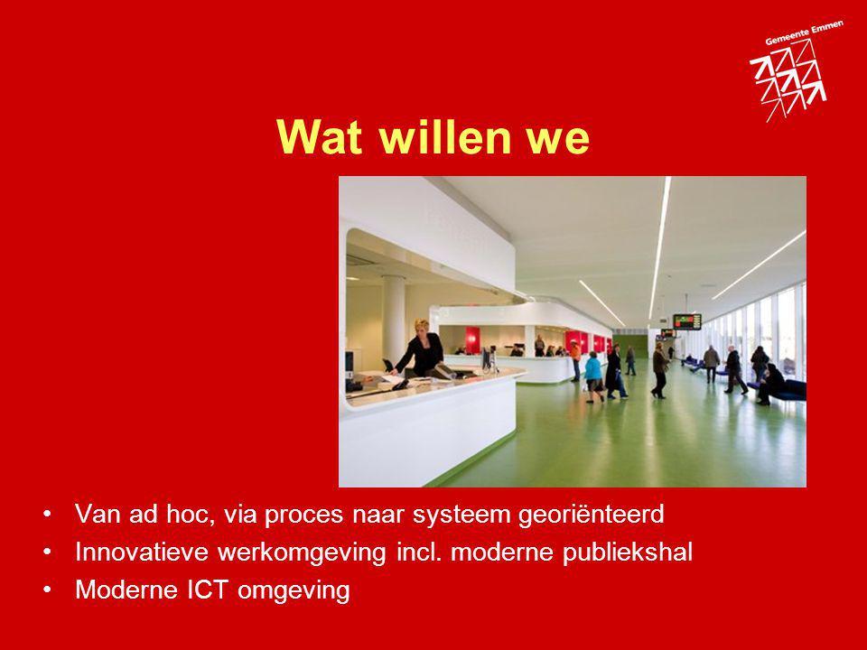 Wat willen we Van ad hoc, via proces naar systeem georiënteerd Innovatieve werkomgeving incl. moderne publiekshal Moderne ICT omgeving
