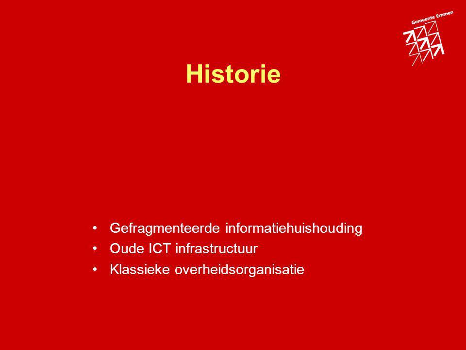 Historie Gefragmenteerde informatiehuishouding Oude ICT infrastructuur Klassieke overheidsorganisatie