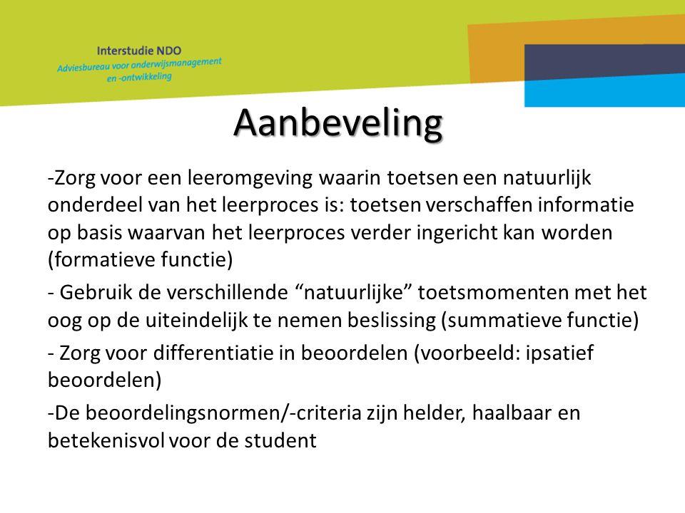 Aanbeveling -Zorg voor een leeromgeving waarin toetsen een natuurlijk onderdeel van het leerproces is: toetsen verschaffen informatie op basis waarvan