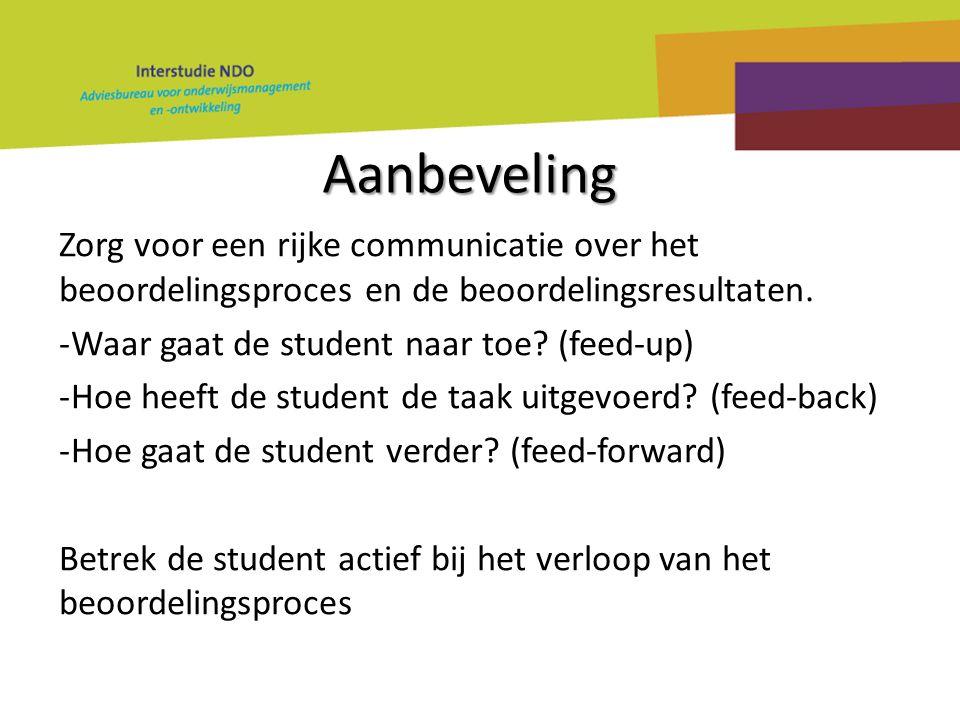 Aanbeveling Zorg voor een rijke communicatie over het beoordelingsproces en de beoordelingsresultaten. -Waar gaat de student naar toe? (feed-up) -Hoe