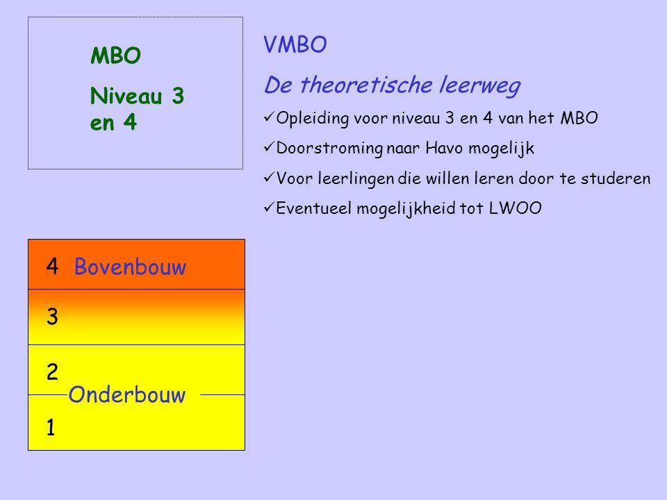 VMBO De theoretische leerweg Opleiding voor niveau 3 en 4 van het MBO Doorstroming naar Havo mogelijk Voor leerlingen die willen leren door te studeren Eventueel mogelijkheid tot LWOO MBO Niveau 3 en 4 Onderbouw 2 1 Bovenbouw4 3