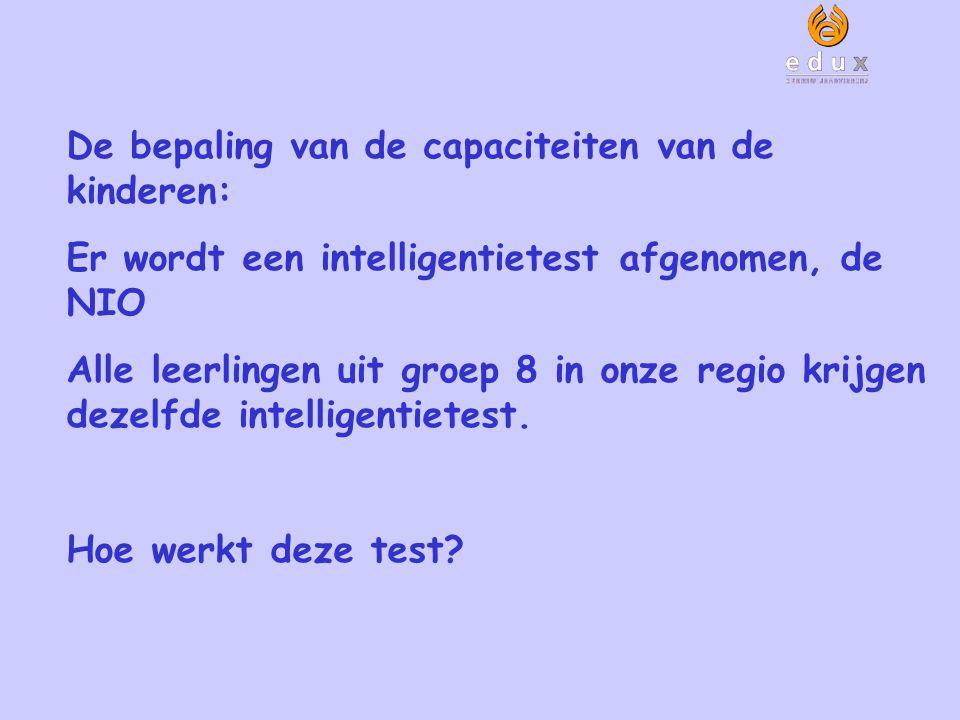De bepaling van de capaciteiten van de kinderen: Er wordt een intelligentietest afgenomen, de NIO Alle leerlingen uit groep 8 in onze regio krijgen de