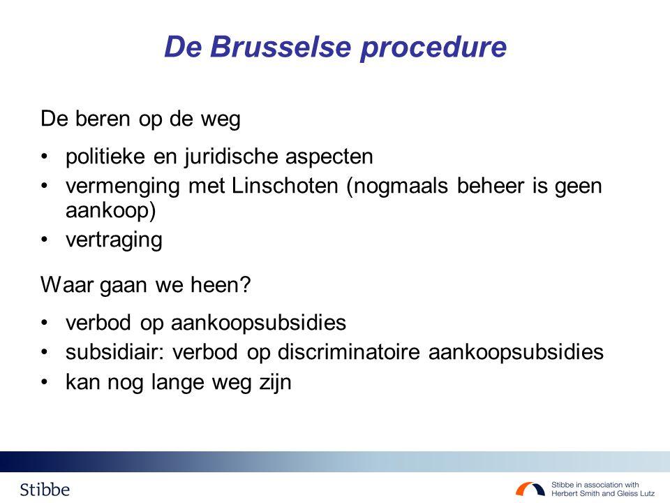 De Brusselse procedure De beren op de weg politieke en juridische aspecten vermenging met Linschoten (nogmaals beheer is geen aankoop) vertraging Waar gaan we heen.