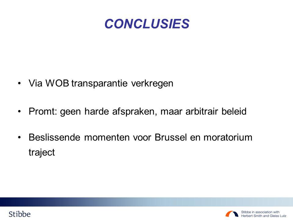 CONCLUSIES Via WOB transparantie verkregen Promt: geen harde afspraken, maar arbitrair beleid Beslissende momenten voor Brussel en moratorium traject