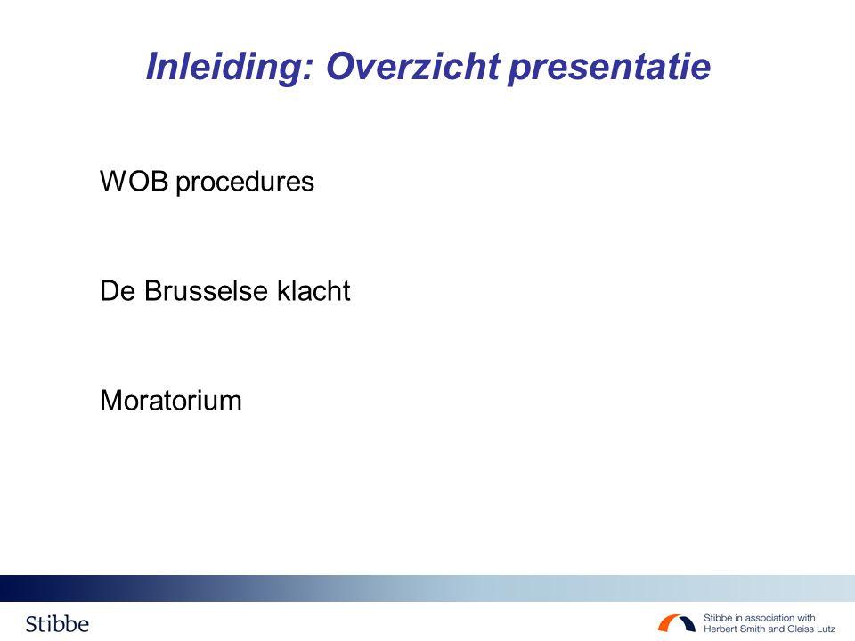 Inleiding: Overzicht presentatie WOB procedures De Brusselse klacht Moratorium