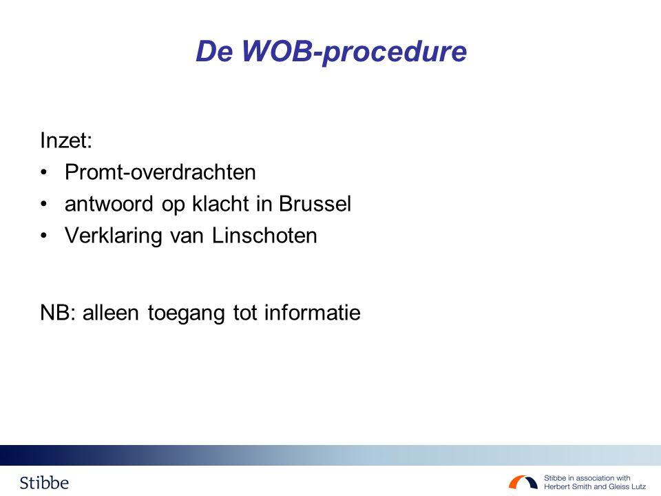 De WOB-procedure Inzet: Promt-overdrachten antwoord op klacht in Brussel Verklaring van Linschoten NB: alleen toegang tot informatie