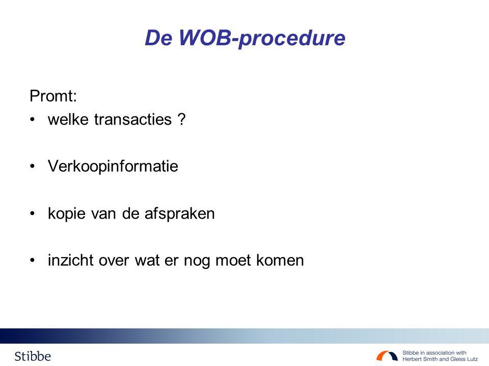 De WOB-procedure Promt: welke transacties .