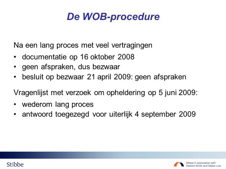 De WOB-procedure Na een lang proces met veel vertragingen documentatie op 16 oktober 2008 geen afspraken, dus bezwaar besluit op bezwaar 21 april 2009: geen afspraken Vragenlijst met verzoek om opheldering op 5 juni 2009: wederom lang proces antwoord toegezegd voor uiterlijk 4 september 2009