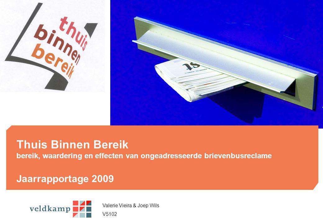 Thuis Binnen Bereik bereik, waardering en effecten van ongeadresseerde brievenbusreclame Jaarrapportage 2009 In 2007 is een doorstart gemaakt met het onderzoek dat het bereik, de waardering van en de respons op ongeadresseerde brievenbusreclame in kaart brengt.