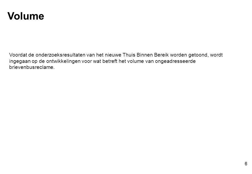 Voordat de onderzoeksresultaten van het nieuwe Thuis Binnen Bereik worden getoond, wordt ingegaan op de ontwikkelingen voor wat betreft het volume van ongeadresseerde brievenbusreclame.