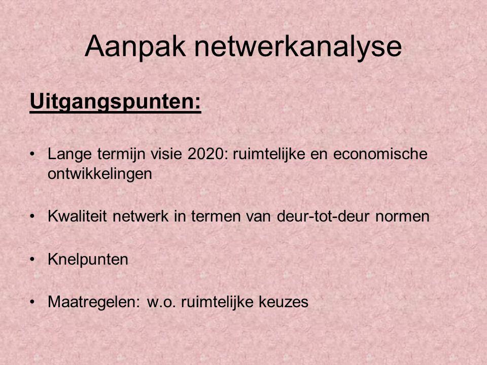 Aanpak netwerkanalyse Uitgangspunten: Lange termijn visie 2020: ruimtelijke en economische ontwikkelingen Kwaliteit netwerk in termen van deur-tot-deu