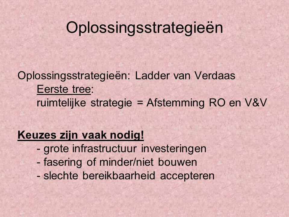 Oplossingsstrategieën Oplossingsstrategieën: Ladder van Verdaas Eerste tree: ruimtelijke strategie = Afstemming RO en V&V Keuzes zijn vaak nodig! - gr