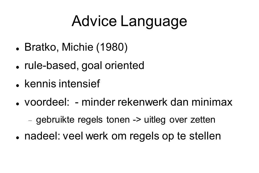 Advice Language Bratko, Michie (1980) rule-based, goal oriented kennis intensief voordeel: - minder rekenwerk dan minimax  gebruikte regels tonen ->