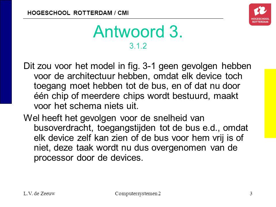 HOGESCHOOL ROTTERDAM / CMI L.V. de ZeeuwComputersystemen 23 Antwoord 3. 3.1.2 Dit zou voor het model in fig. 3-1 geen gevolgen hebben voor de architec