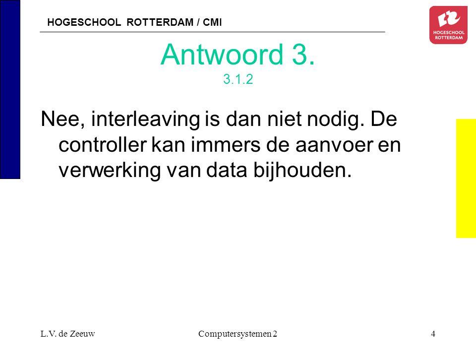 HOGESCHOOL ROTTERDAM / CMI L.V. de ZeeuwComputersystemen 24 Antwoord 3. 3.1.2 Nee, interleaving is dan niet nodig. De controller kan immers de aanvoer