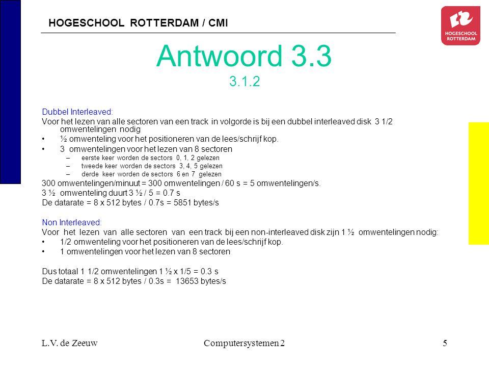 HOGESCHOOL ROTTERDAM / CMI L.V. de ZeeuwComputersystemen 25 Antwoord 3.3 3.1.2 Dubbel Interleaved: Voor het lezen van alle sectoren van een track in v