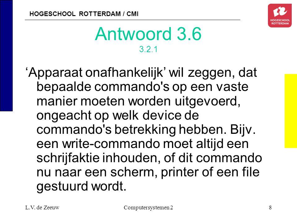 HOGESCHOOL ROTTERDAM / CMI L.V. de ZeeuwComputersystemen 28 Antwoord 3.6 3.2.1 'Apparaat onafhankelijk' wil zeggen, dat bepaalde commando's op een vas