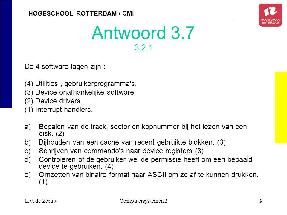 HOGESCHOOL ROTTERDAM / CMI L.V. de ZeeuwComputersystemen 29 Antwoord 3.7 3.2.1 De 4 software-lagen zijn : (4) Utilities, gebruikerprogramma's. (3) Dev