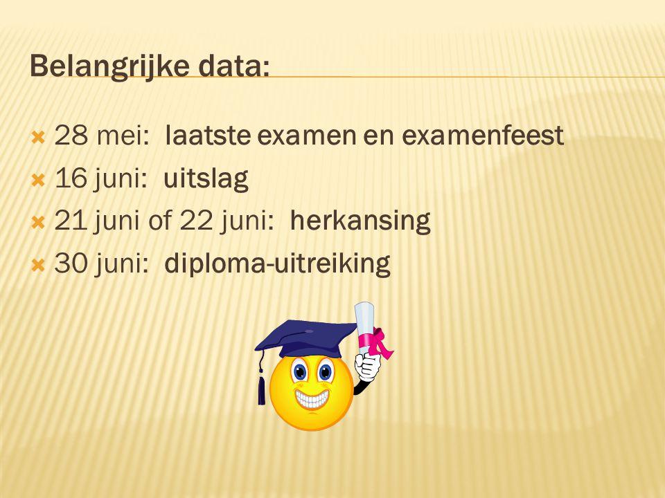 Belangrijke data:  28 mei: laatste examen en examenfeest  16 juni: uitslag  21 juni of 22 juni: herkansing  30 juni: diploma-uitreiking