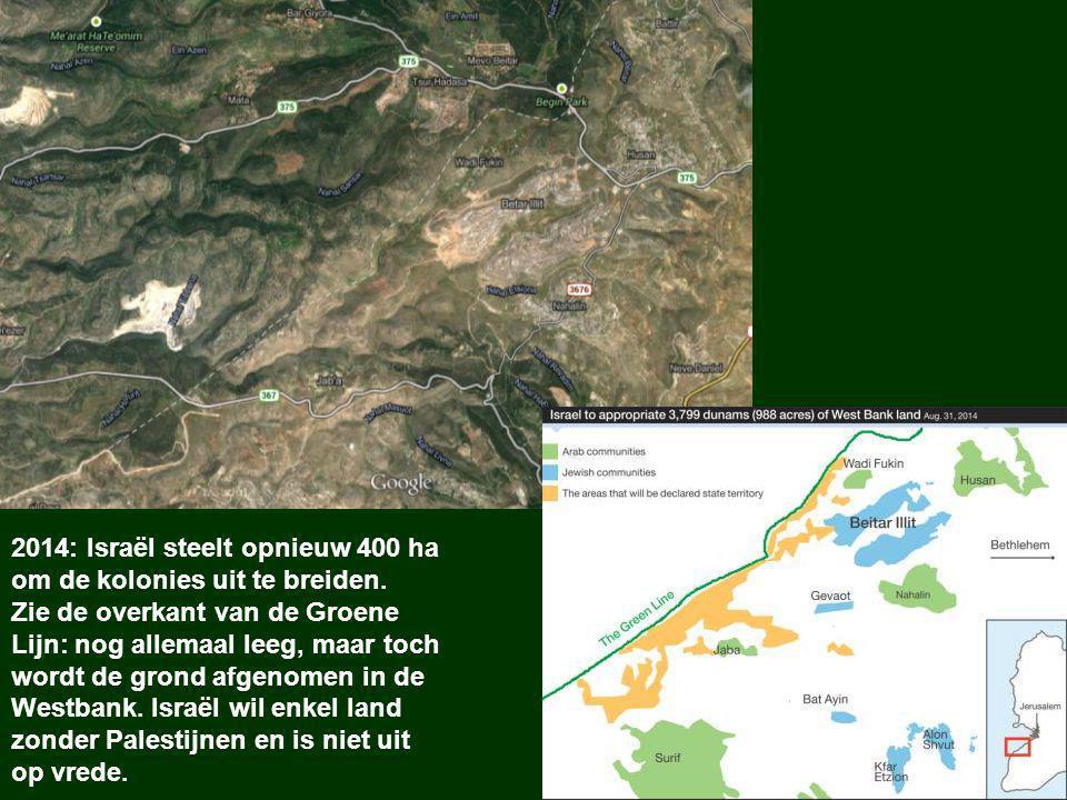 2014: Israël steelt opnieuw 400 ha om de kolonies uit te breiden.