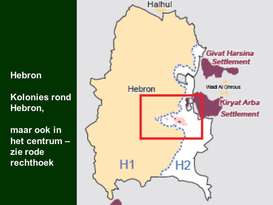 Hebron Kolonies rond Hebron, maar ook in het centrum – zie rode rechthoek