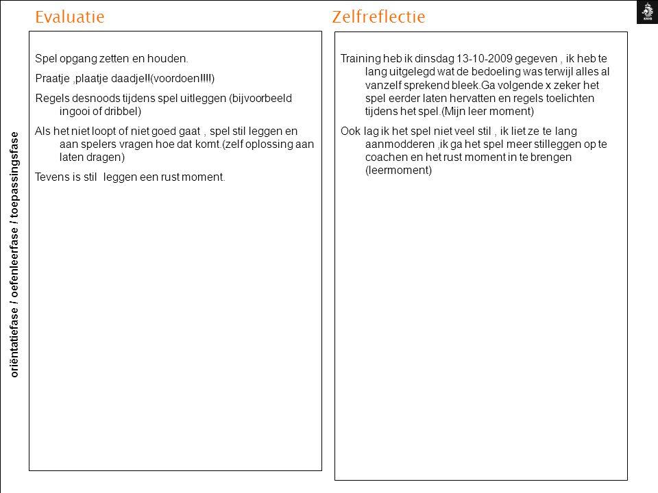 Evaluatie Zelfreflectie oriëntatiefase / oefenleerfase / toepassingsfase Training heb ik dinsdag 13-10-2009 gegeven, ik heb te lang uitgelegd wat de b