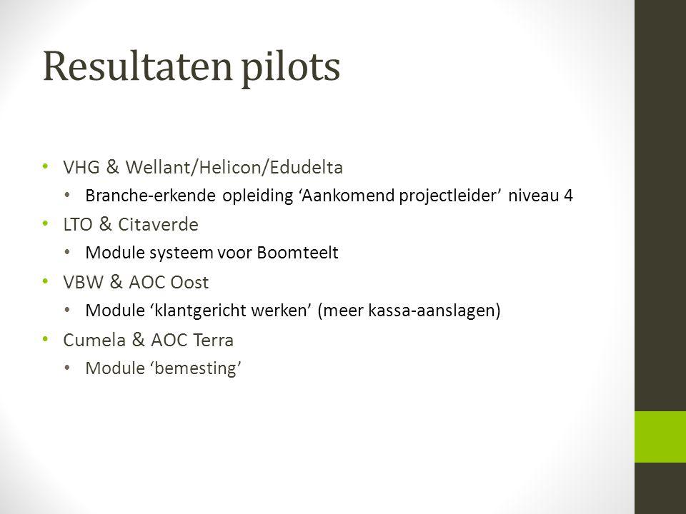 Resultaten pilots VHG & Wellant/Helicon/Edudelta Branche-erkende opleiding 'Aankomend projectleider' niveau 4 LTO & Citaverde Module systeem voor Boom