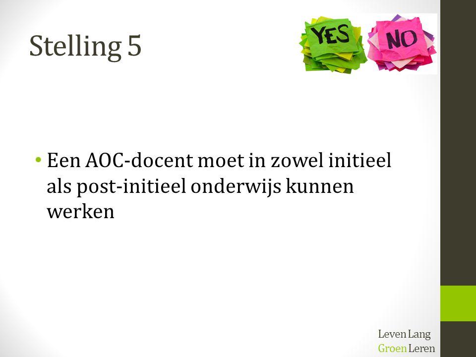 Stelling 5 Een AOC-docent moet in zowel initieel als post-initieel onderwijs kunnen werken Leven Lang Groen Leren